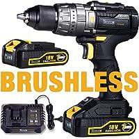 Brushless Perceuse Visseuse sans Fil, TECCPO Professional 60Nm Perceuse a Percussion 18V, 2 Batteries 2.0Ah, 29 Pieces Set d'accessoires-TDHD02P