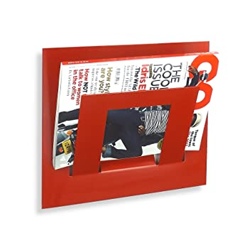 Wall Mounted Magazine Rack Single Red Amazoncouk Kitchen Home