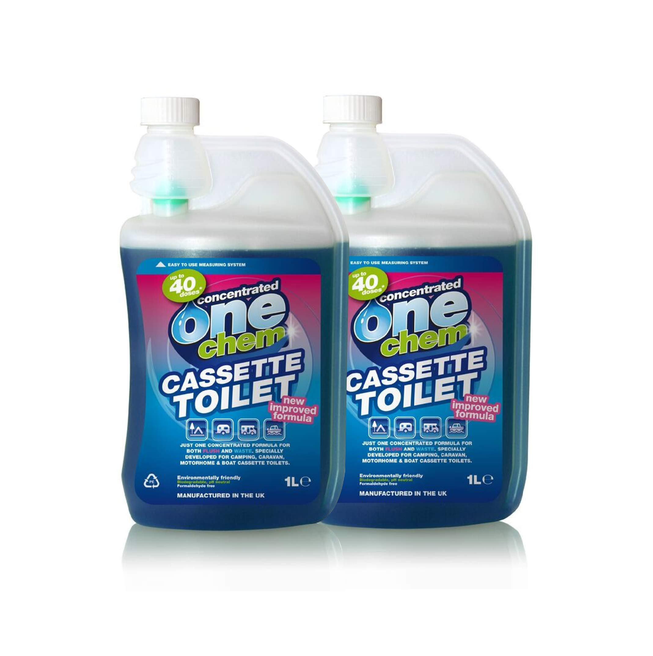 2 x One Chem Concentrated 2 in 1 PH Neutral Formula for Cassette Toilets 1