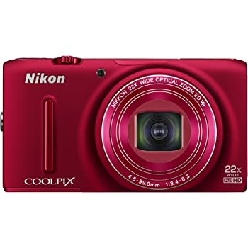 Nikon Coolpix S9500 18.1MP Point-and-Shoot Digital Camera (Red) with 4GB Card, Camera Pouch, HDMI Cable