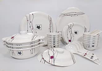 Seven Pi Elemental Design Exclusive Melamine Quality Dinner Set, 41-Pieces
