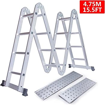 WORHAN® 4.6m Foldable Multipurpose BIG HINGE Aluminium Ladder Platforms  KS4.6+