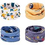 CNNIK Bufanda de los niños, 4 Piezas Bufanda de algodón de Invierno Calentador de Cuello Pañuelos para bebés, niñas y niños,