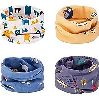 CNNIK Multiuso Sciarpa per Bambini, 4 Pezzi Cappello del Cotone Sciarpa O-Scaldacollo Loop per Bambini Piccoli Ragazze e…