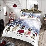 GAVENO CAVAILIA Easy Care Angel Pug Xmas Duvet Cover, Luxury Super Soft & Cosy Christmas Quilt Set Bedding, King Size, Multi