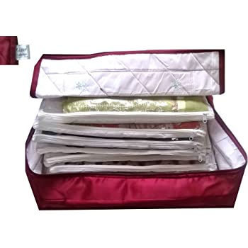 SRB4001 Set of 3 Medium Gold /& Clear saree bag Wardrobe Organiser Garment Storage Bags Set of 3