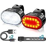 Luci Bicicletta Kit , Luce Anteriore e Posteriore per Bicicletta LED, Luce per Bicicletta Ricaricabile USB, Disponibile per U