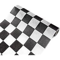 Visiodirect Chemin de Table intissé Damier Noir et Blanc - 27 cm x 5 m