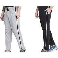Maxis Greymelange and Charcoal Melange Cotton Track Pants,Pyjamas,Sleepwear,Bottoms-Pack of Two