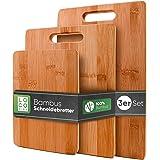 Loco Bird Planches à découper en bambou massif jeu de 3-33x22 / 28x22 / 15x22cm - Planche à découper de cuisine en bois - Pla
