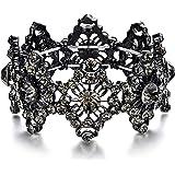 EVER FAITH Armband Hochzeit Braut Kristall Aushöhlen Vintage Armrkette für Damen Marineblau