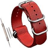 22 millimetri rosso militare orologio di nylon tessuto di sostituzione band di spessore per gli uomini