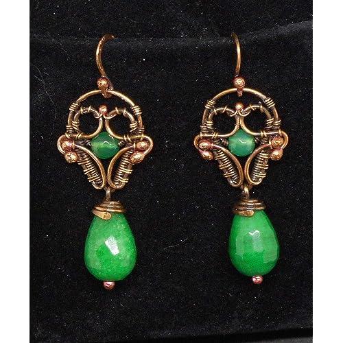 Orecchini Giada rame vintage antichi verdi pietre dure regalo festa mamma laurea gioielli design donna pendenti grandi goccia