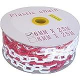SNS SAFETY LTD Catena di Plastica per il Parcheggio, Bianca e Rossa, 6 mm, 25 metri