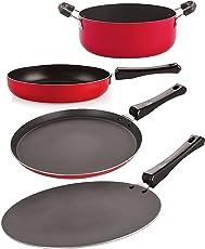 Nirlon Non-Stick 3 Layer Coated Aluminium 4 Piece Odor Free Healthy Kitchenware Essential Combo Gift Set Offer