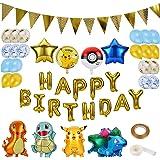 Colmanda Globo Pokémon, 35 Piezas Helium Foil Balloons Pokemon Pikachu Globos de Fiesta Aluminio Globo Suministros de Fiesta