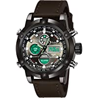 Sylvi Business Watch Mens Luxury Brand LED Digital Watches Sports Military Brown SY-3022 Analog-Digital Watch - for Men