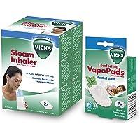 Vicks Inhalateur à Vapeur + VapoPads Menthol - Tablettes parfumées aux huiles essentielles (VH7)