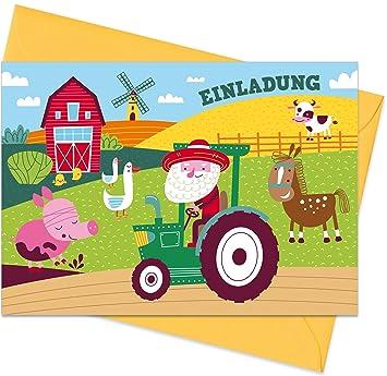15er Set Inkl Umschlage Einladungskarten Bauernhof Fur Den