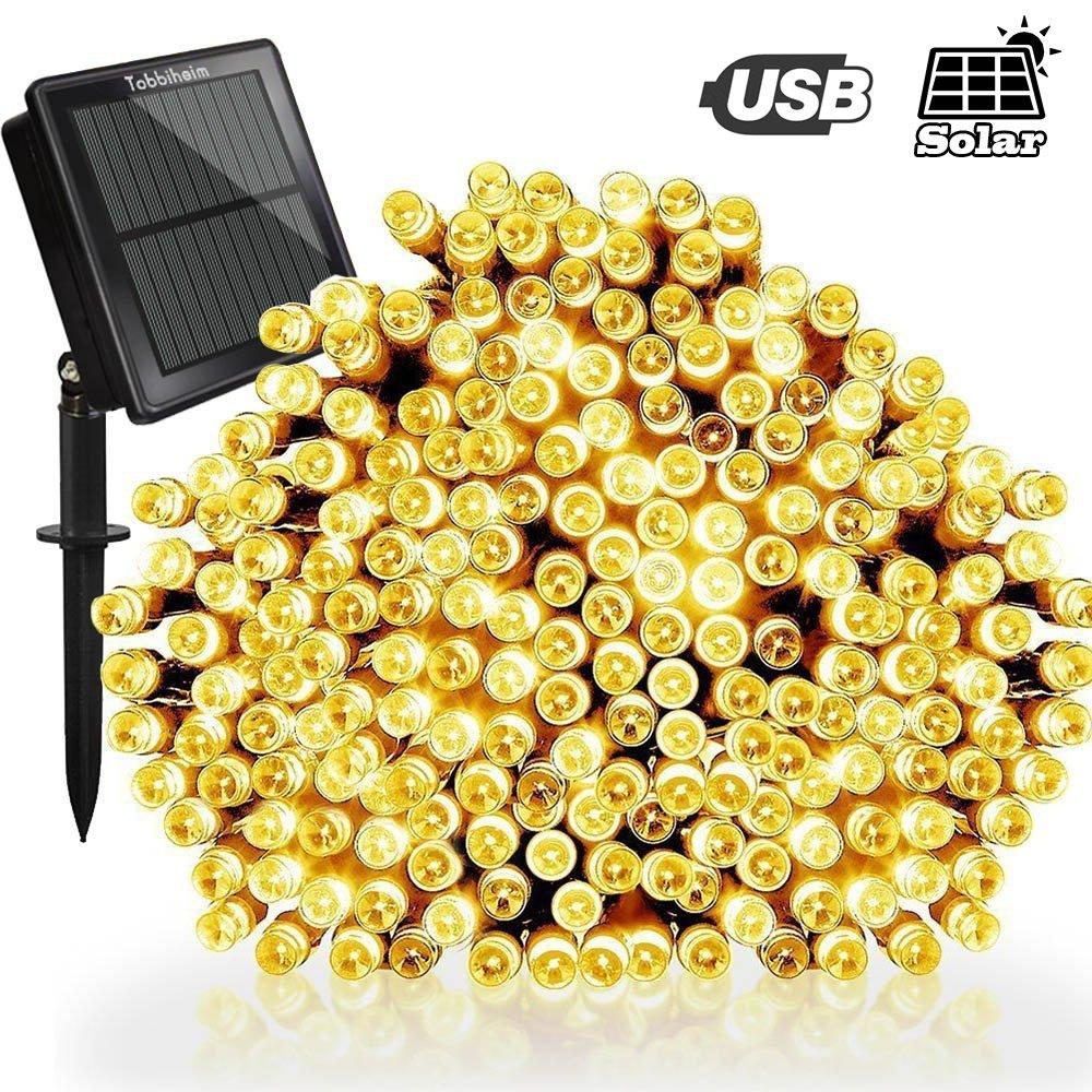 Tobbiheim Solar Lichterkette Außen 200 LED 22 Meter Wasserdicht IP65 ...