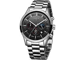 LIGE Watches Mens Waterproof Stainless Steel Sport Analogue Quartz Watch Men Business Chronograph Wristwatch