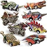 HERSITY Coche Dinosaurios de Juguetes Incluir 6 Dinosaurio Tire hacia Atrás Coches y 2 Friccion Motocicletas Regalos para Beb