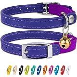 طوق CallarDirect من الجلد للقطط، طوق سلامة القط مع حزام مطاطي، طوق القط مع الجرس الأسود والأزرق والأحمر والبرتقالي الأخضر الل