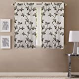 Queenzliving Polyester Floral Curtain, 5 Feet, Grey, Pack of 2
