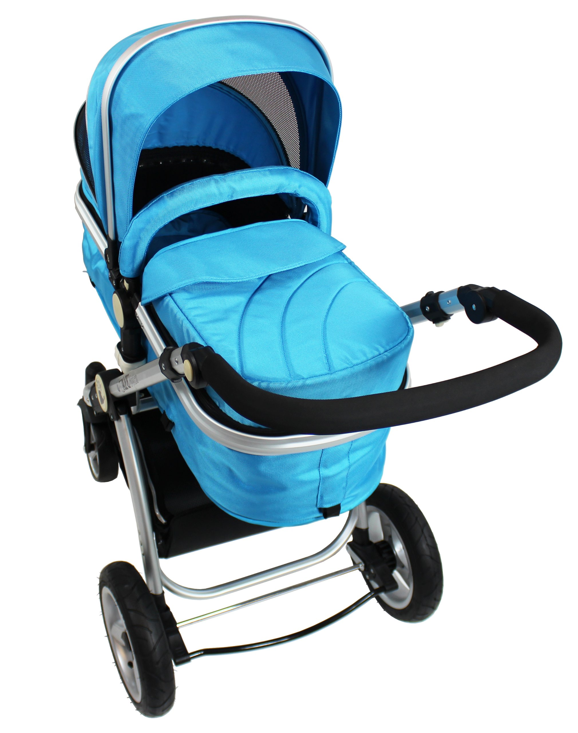 iSafe 2 in 1 Baby Pram System Complete (Ocean) iSafe We Are Proud To Present One Of The Finest 2in1 Stroller/Pram/Pramette/Travel System in the UK & Europe! 2 in 1 Stroller / Pram Extremely Easy Conversion To A Full Size Carrycot For Unrivalled Comfort. Complete With Boot Cover, Luxury Liner, 5 Point Harness, Raincover, Shopping Basket With Closed Ziped Top High Quality Rubber Inflatable Wheels With The Full All around Soft Suspension For That Perfect Unrivalled Ride 8
