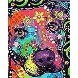 HQKNIGHT DIY Paint by Numbers Canvas Oljemålning Kit för barn och vuxna (40 * 50cm), Paint by Numbers Kits Hund med akrylfärg