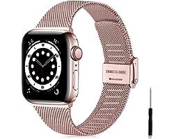 Ouwegaga Correa de Repuesto Compatible con Apple Watch Correa 38mm 40mm 42mm 44mm SE, Clásica Correa de Metal de Acero Inoxid