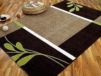 Teppich braun grün  Designer Teppich Softstar Country Grün Braun Blumen in 3 Größen ...