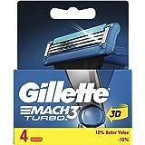 Gillette Mach3 Turbo Men's Razor Blade Refills, 4 count