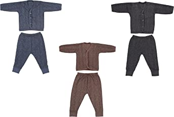 Littly Front Open Kids Thermal Top & Pyjama Set for Baby Boys & Baby Girls, Pack of 3 (Dark Colors)