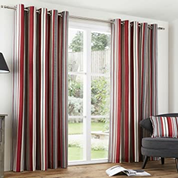 Red Curtains amazon red curtains : RED CLARET GREY NATURAL Regency Stripe Curtains EYELET 100% Cotton ...