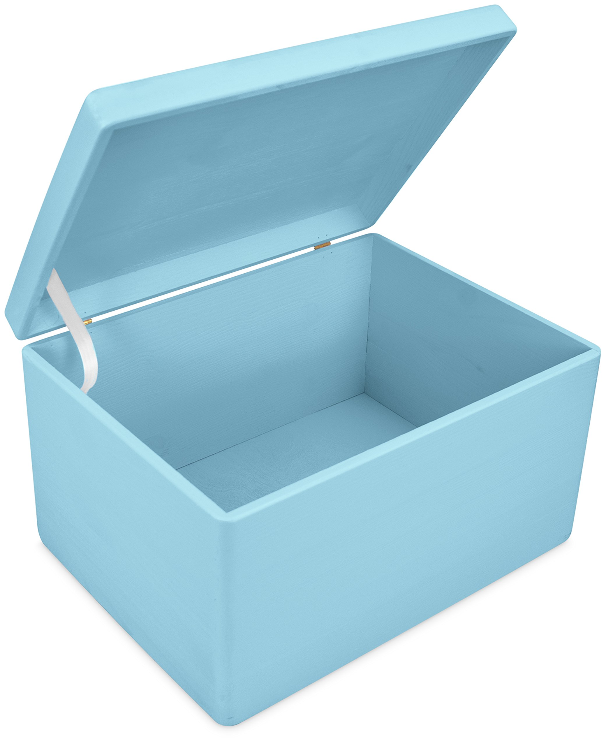 LAUBLUST Große Holzkiste mit Deckel - 40x30x24cm, Blau, FSC® | Allzweck-Kiste aus Holz - Aufbewahrungskiste | Spielzeug…