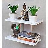 Madhuran Aai Decorative Wall Mounted Shelf White/Wooden Book Shelves Rack Display