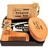 Presents for Men - Male Grooming Kit - Beard Comb + Beard Brush + Moustache Scissors + Elegant Gift Box - Gifts for Men with Beard - Anniversary Gifts for him - Perfect Present by KOGAION UK