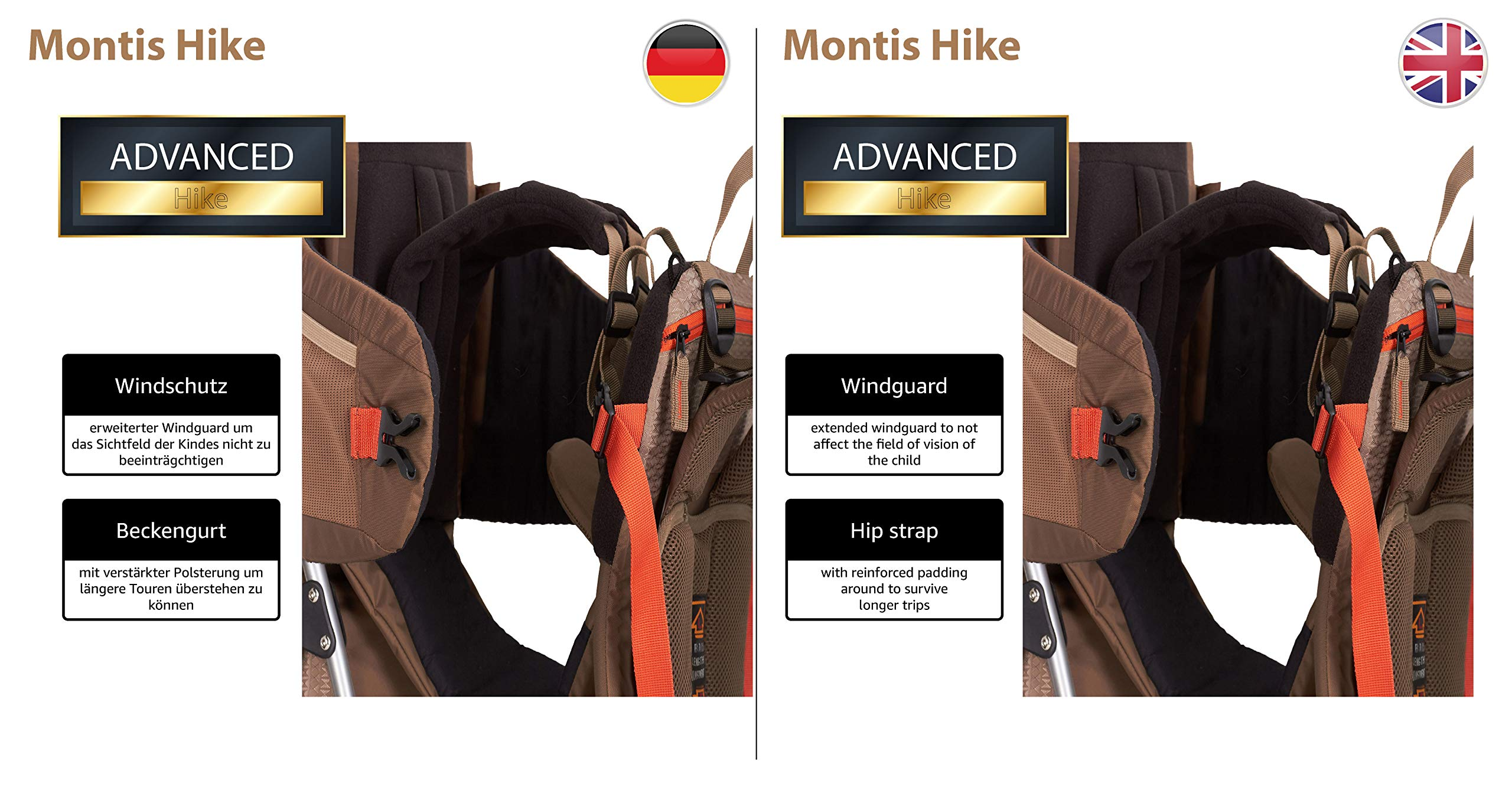 MONTIS HIKE, Premium Back Baby/Child Carrier, Up to 25kg, (mocha) M MONTIS OUTDOOR 89cm high, 37cm wide | up to 25kg | various colours | 28L seat bag Laminated and dirt-repellant outer material | approx. 2.2kg (without extras) Fully-adjustable, padded 5-point child's safety harness | plush lining, raised wind guard, can be filled from both sides | forehead cushion 7
