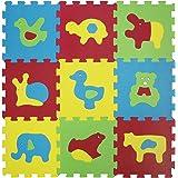 LUDI – Tapis de sol épais pour l'éveil de bébé – 1050 - puzzle géant aux motifs Animaux – dès 10 mois – lot de 9 dalles en mo