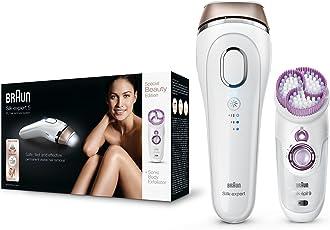 Braun Silk-expert 5 BD 5009 IPL Haarentfernungsgerät, sichere IPL-Technologie für dauerhafte Haarentfernung für Frauen/Männer, mit Peeling-Gerät, weiß/gold
