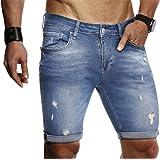 LEIF NELSON Herren Sommer Kurze Jeans Hose Shorts Jeanshose Basic Hose 5-Pocket Destroyed Used Stretch Freizeithose LN9130