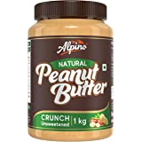 Alpino Natural Peanut Butter Crunch 1 KG | Unsweetened | Made with 100% Roasted Peanuts | 30% Protein | No Added Sugar | No A