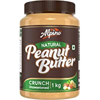 Alpino Natural Peanut Butter Crunch 1 KG | Unsweetened | Made with 100% Roasted Peanuts | 30% Protein | No Added Sugar…