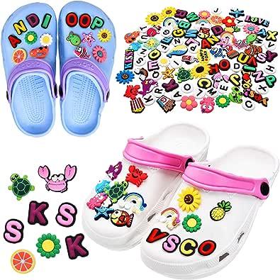 100 Pieces VSCO Girl Stuff Different Shape Shoes Charms Cute PVC Shoe Charms for Clog Shoes Decorations Wristband Bracelet Party Favors