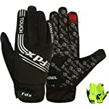 Fdx Full Finger Winter Cycling Gloves, Breathable, Water Resistant, Windproof, Anti- Shocking Gel Padded Palms, Touchscreen,