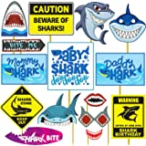 Party Propz Baby Shark Theme Birthday Decorations -15Pcs Baby Shark Theme Photo Booth Props Set - Baby Shark Party Supplies f