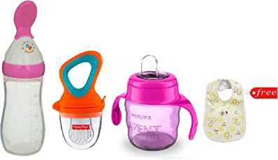 Philips Avent Classic Soft Spout Cup, 200ml (Pink) with Fisher-Price Squeezy Silicone Food Feeder 125ml with UltraCare Silicone Food Nibbler (Color May Vary) and Baby Bib Free