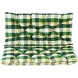 Ambientehome Sitzkissen und Rückenkissen Bank Hanko, kariert grün, ca 100 x 98 x 8 cm, Bankauflage, Polsterauflage
