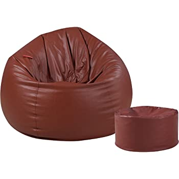 Couchette Combo XXL Bean Bag with Round Footrest, Brown (Without Fillers)